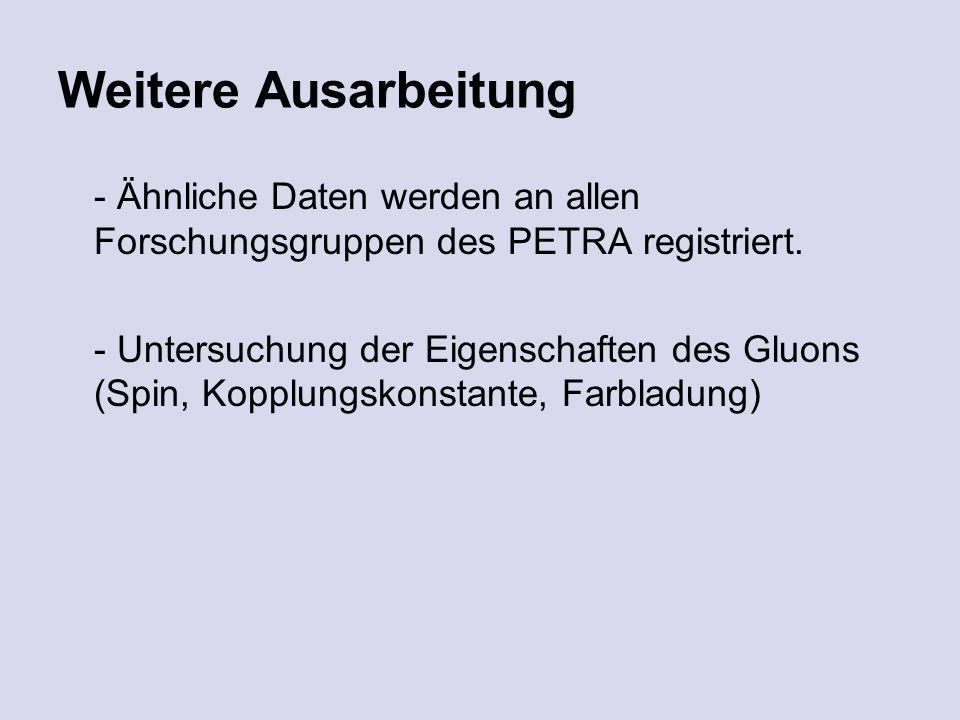 Weitere Ausarbeitung - Ähnliche Daten werden an allen Forschungsgruppen des PETRA registriert.