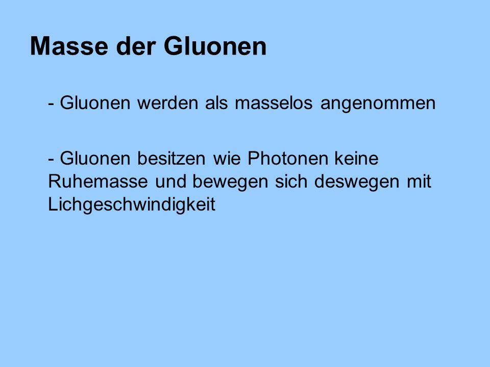 Masse der Gluonen - Gluonen werden als masselos angenommen - Gluonen besitzen wie Photonen keine Ruhemasse und bewegen sich deswegen mit Lichgeschwindigkeit