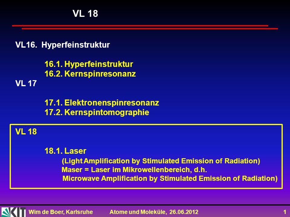 Wim de Boer, Karlsruhe Atome und Moleküle, 26.06.2012 1 VL16. Hyperfeinstruktur 16.1. Hyperfeinstruktur 16.2. Kernspinresonanz VL 17 17.1. Elektronens
