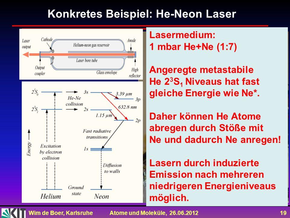 Wim de Boer, Karlsruhe Atome und Moleküle, 26.06.2012 19 Konkretes Beispiel: He-Neon Laser Lasermedium: 1 mbar He+Ne (1:7) Angeregte metastabile He 2