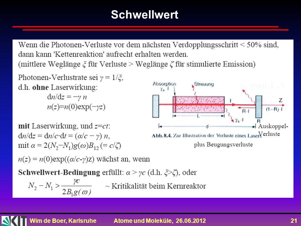 Wim de Boer, Karlsruhe Atome und Moleküle, 26.06.2012 21 Schwellwert