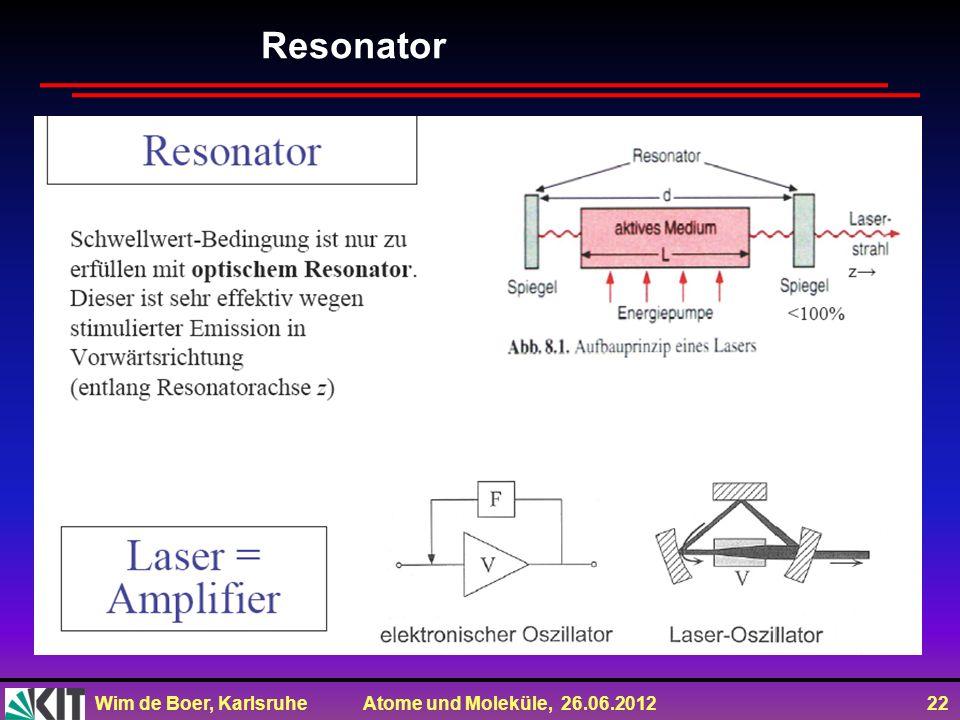 Wim de Boer, Karlsruhe Atome und Moleküle, 26.06.2012 22 Resonator