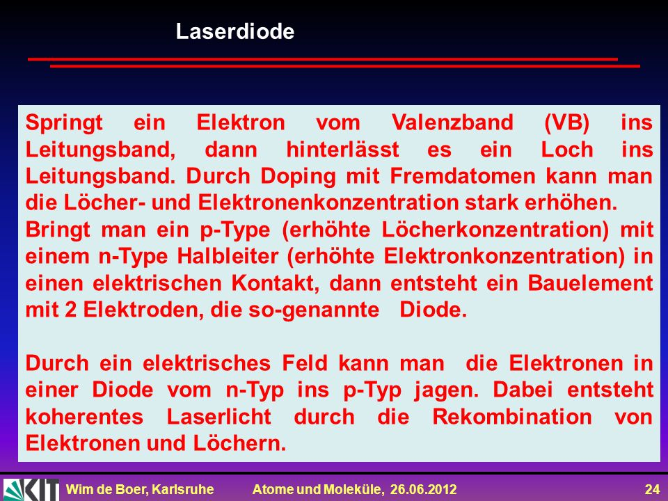 Wim de Boer, Karlsruhe Atome und Moleküle, 26.06.2012 24 Springt ein Elektron vom Valenzband (VB) ins Leitungsband, dann hinterlässt es ein Loch ins L