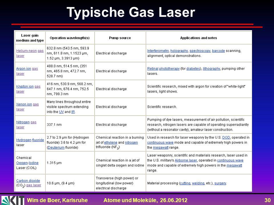 Wim de Boer, Karlsruhe Atome und Moleküle, 26.06.2012 30 Typische Gas Laser