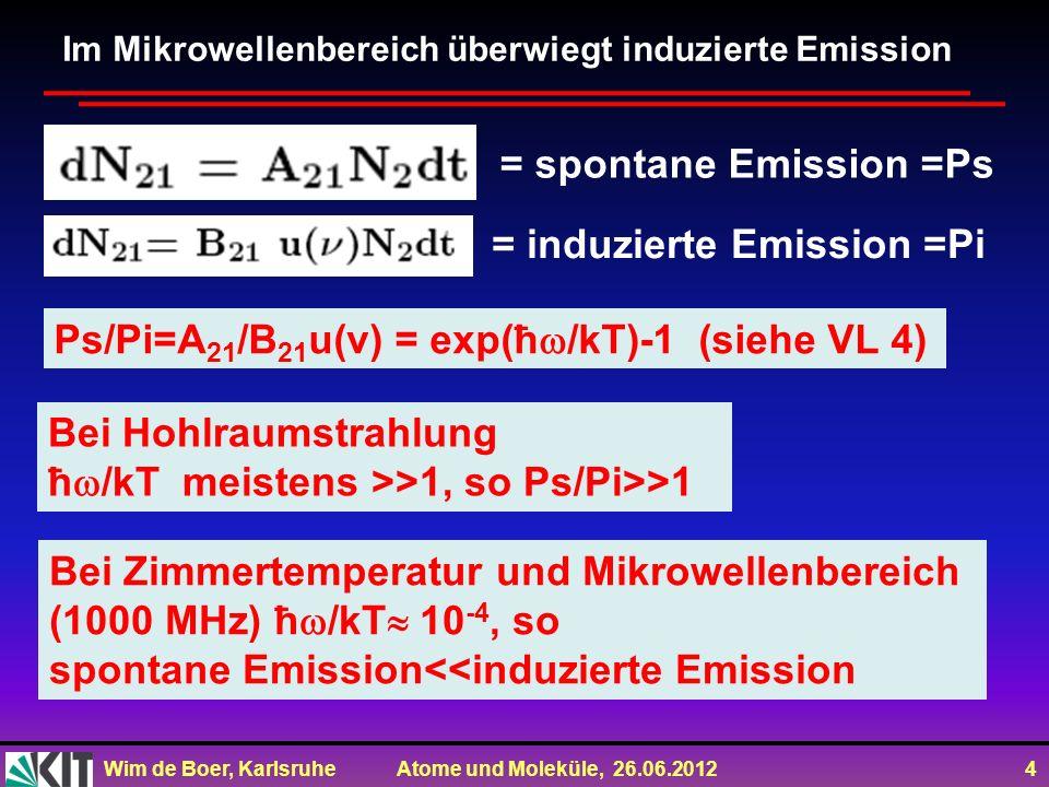 Wim de Boer, Karlsruhe Atome und Moleküle, 26.06.2012 4 Bei Zimmertemperatur und Mikrowellenbereich (1000 MHz) ħ /kT 10 -4, so spontane Emission<<indu