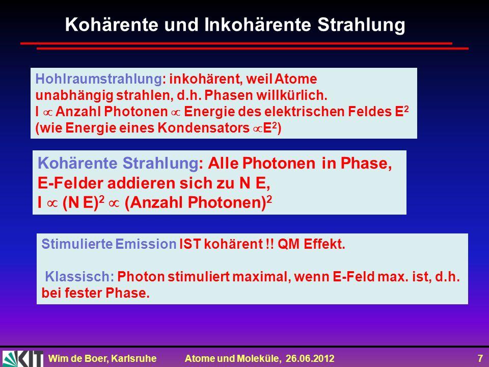 Wim de Boer, Karlsruhe Atome und Moleküle, 26.06.2012 7 Kohärente und Inkohärente Strahlung Hohlraumstrahlung: inkohärent, weil Atome unabhängig strah