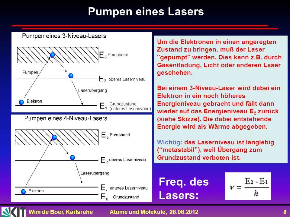 Wim de Boer, Karlsruhe Atome und Moleküle, 26.06.2012 8 Um die Elektronen in einen angeregten Zustand zu bringen, muß der Laser