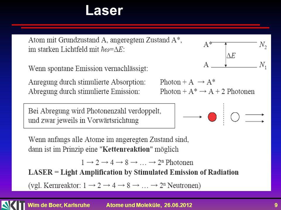Wim de Boer, Karlsruhe Atome und Moleküle, 26.06.2012 9 Laser