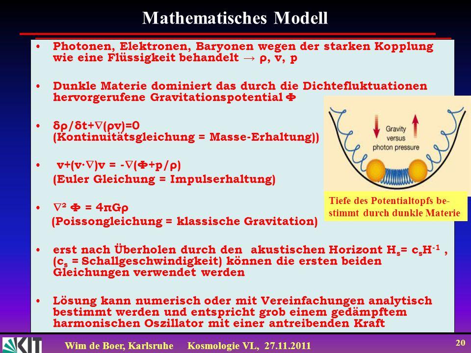 Wim de Boer, KarlsruheKosmologie VL, 27.11.2011 19 Lösung: Druck gering: δ=ae bt, d.h. exponentielle Zunahme von δ (->Gravitationskollaps) Druck groß: