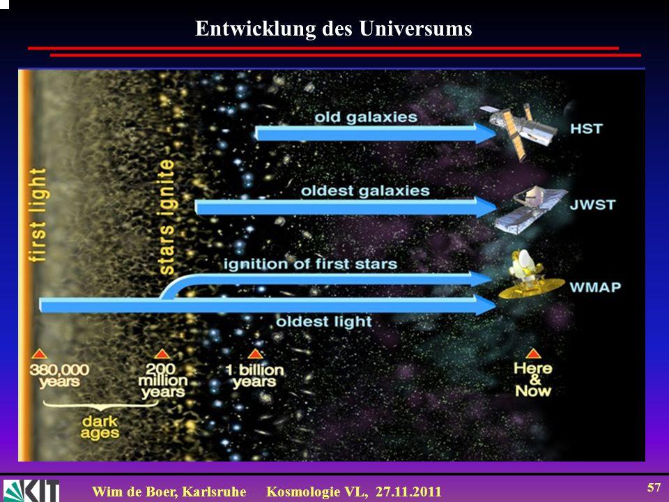 Wim de Boer, KarlsruheKosmologie VL, 27.11.2011 56 CMB polarisiert durch Streuung an Elektronen (Thomson Streuung) Kurz vor Entkoppelung: Streuung der