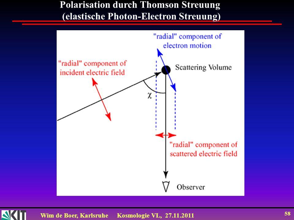 Wim de Boer, KarlsruheKosmologie VL, 27.11.2011 57 Entwicklung des Universums