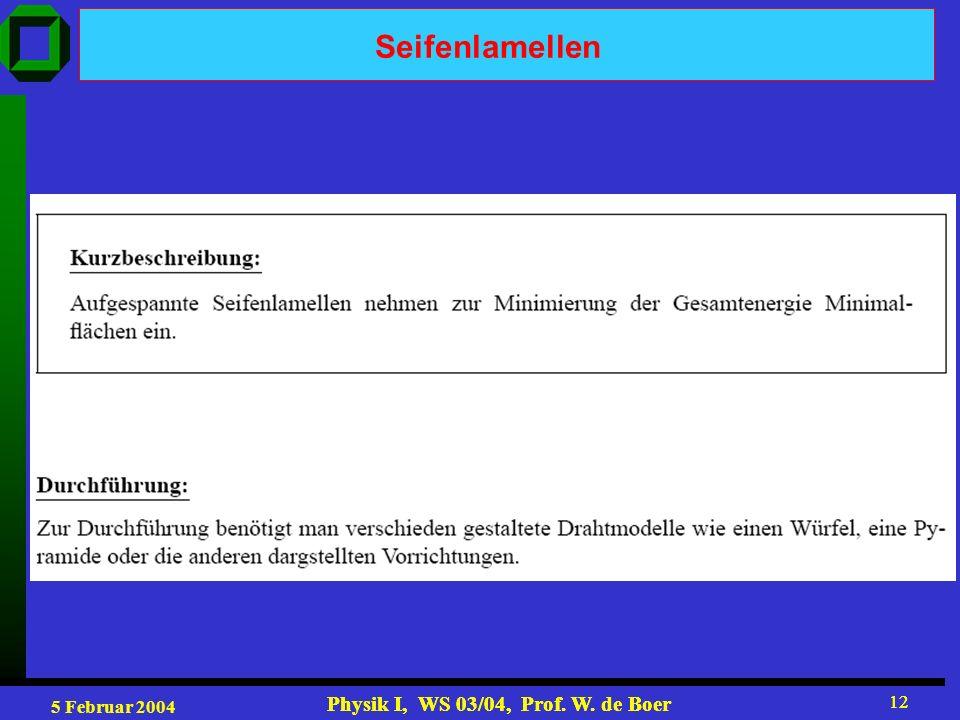 5 Februar 2004 Physik I, WS 03/04, Prof. W. de Boer 12 Physik I, WS 03/04, Prof. W. de Boer 12 Seifenlamellen