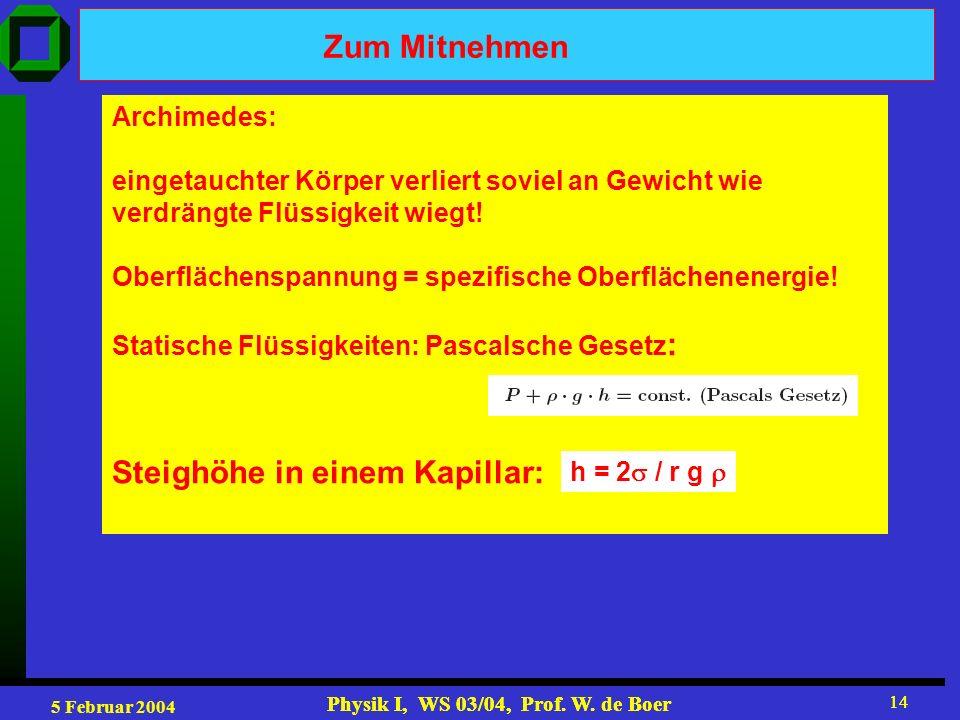 5 Februar 2004 Physik I, WS 03/04, Prof. W. de Boer 14 Physik I, WS 03/04, Prof. W. de Boer 14 Zum Mitnehmen Archimedes: eingetauchter Körper verliert