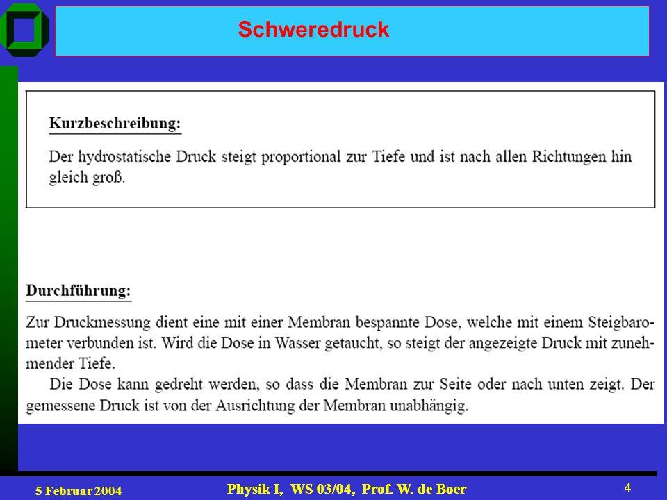 5 Februar 2004 Physik I, WS 03/04, Prof. W. de Boer 4 4 Schweredruck