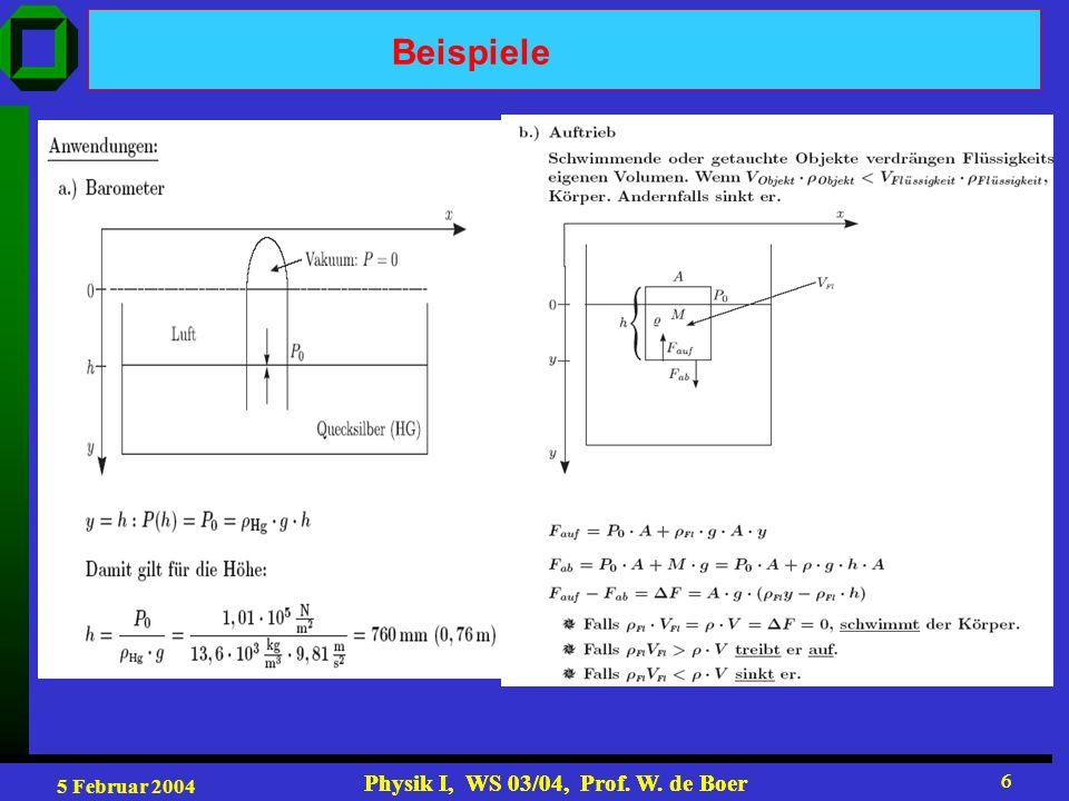 5 Februar 2004 Physik I, WS 03/04, Prof. W. de Boer 6 6 Beispiele