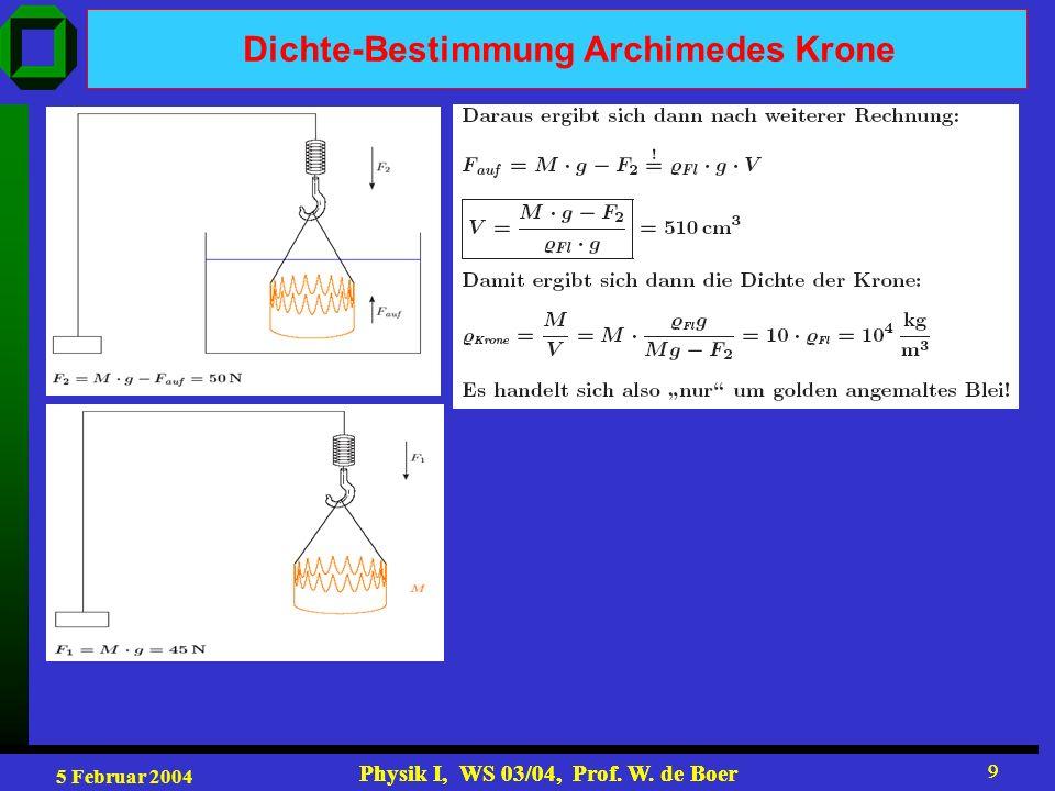 5 Februar 2004 Physik I, WS 03/04, Prof. W. de Boer 9 9 Dichte-Bestimmung Archimedes Krone