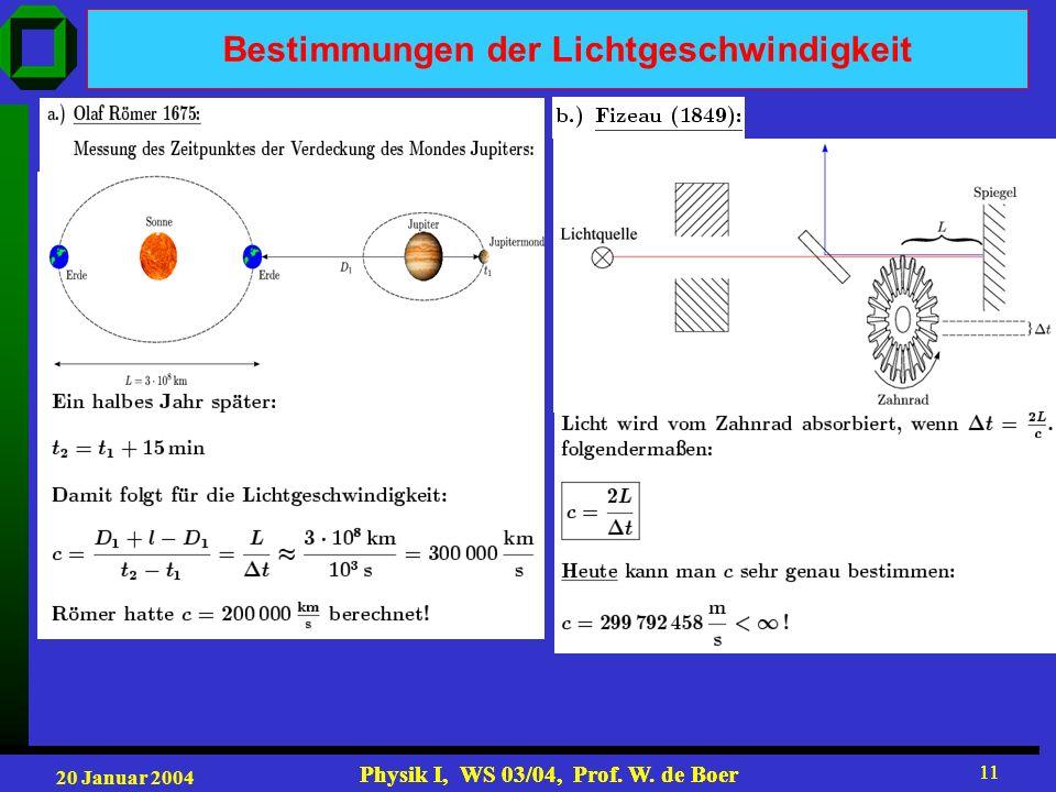 20 Januar 2004 Physik I, WS 03/04, Prof. W. de Boer 11 Physik I, WS 03/04, Prof. W. de Boer 11 Bestimmungen der Lichtgeschwindigkeit