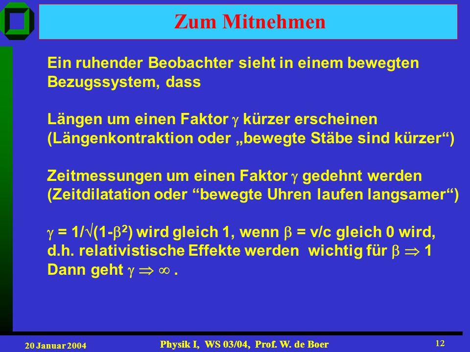 20 Januar 2004 Physik I, WS 03/04, Prof. W. de Boer 12 Physik I, WS 03/04, Prof. W. de Boer 12 Zum Mitnehmen Ein ruhender Beobachter sieht in einem be