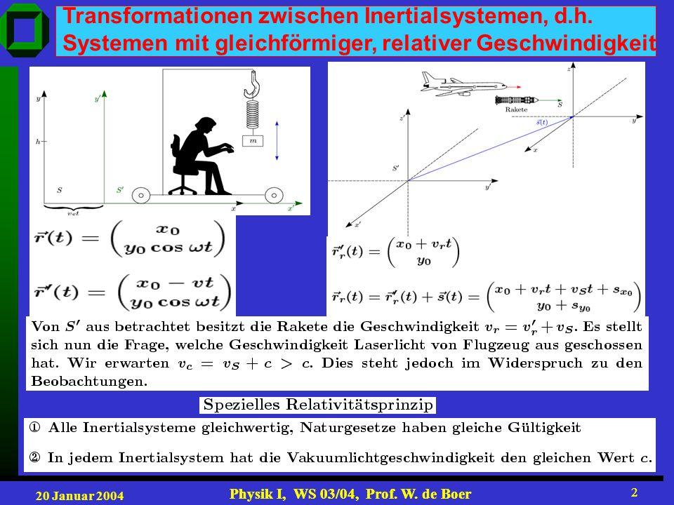 20 Januar 2004 Physik I, WS 03/04, Prof. W. de Boer 2 2 Transformationen zwischen Inertialsystemen, d.h. Systemen mit gleichförmiger, relativer Geschw