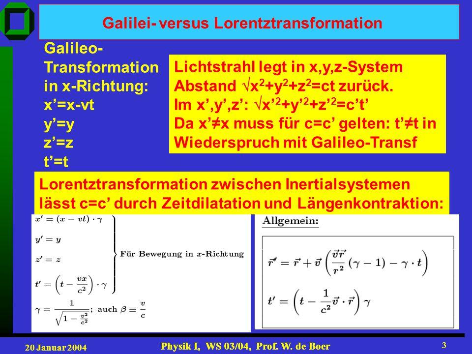 20 Januar 2004 Physik I, WS 03/04, Prof. W. de Boer 3 3 Galilei- versus Lorentztransformation Galileo- Transformation in x-Richtung: x=x-vt y=y z=z t=