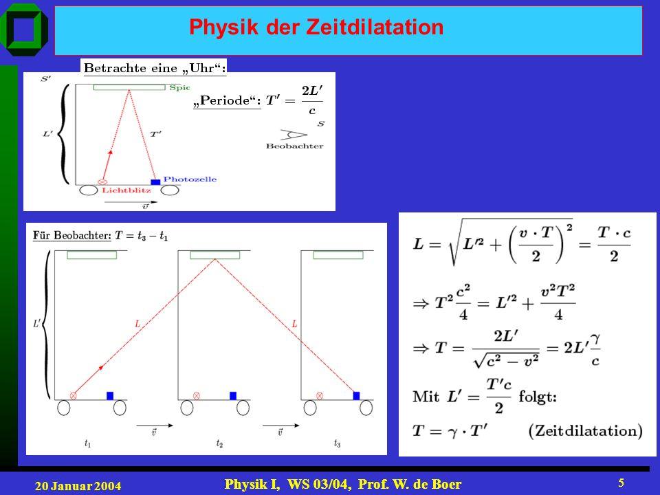 20 Januar 2004 Physik I, WS 03/04, Prof. W. de Boer 5 5 Physik der Zeitdilatation