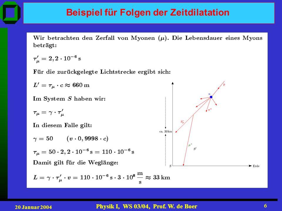20 Januar 2004 Physik I, WS 03/04, Prof. W. de Boer 6 6 Beispiel für Folgen der Zeitdilatation