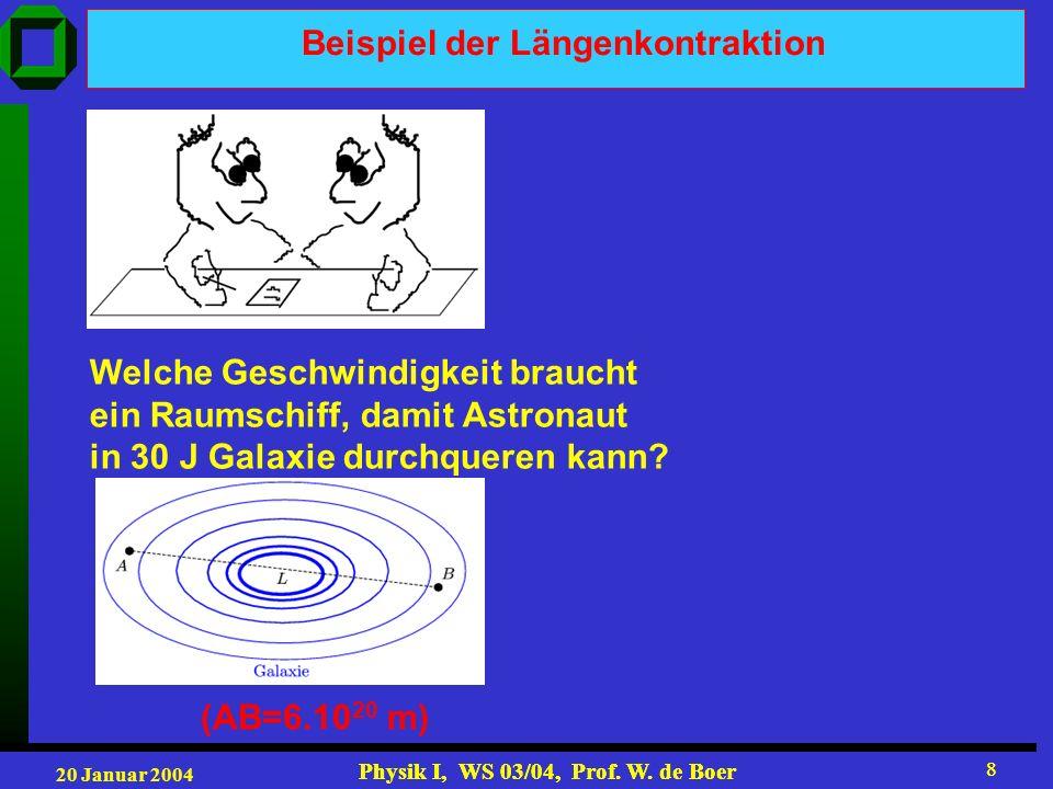 20 Januar 2004 Physik I, WS 03/04, Prof. W. de Boer 8 8 Beispiel der Längenkontraktion Welche Geschwindigkeit braucht ein Raumschiff, damit Astronaut