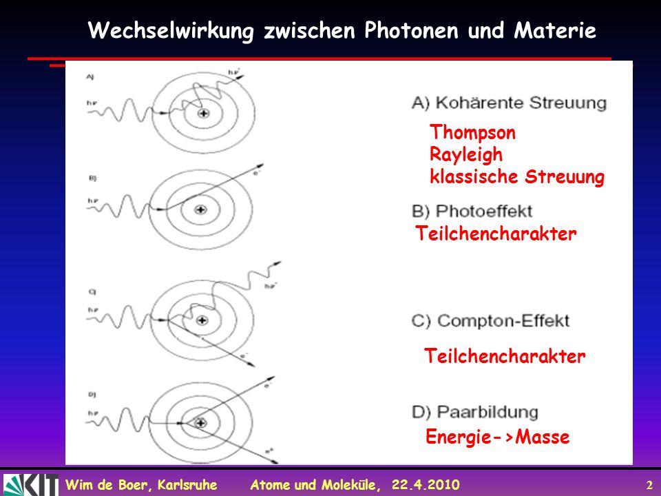 Wim de Boer, Karlsruhe Atome und Moleküle, 22.4.2010 3 Das Photon hat eine relativistische Masse m = E/c 2 = hv/c 2 und empfindet dementsprechend eine Gravitationskraft, die sich als Rotverschiebung (oder Blauverschiebung bei fallendem Photon) im Gravitationsfeld bemerkbar macht.