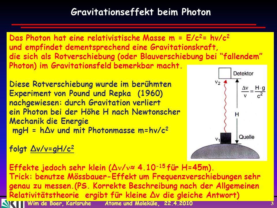 Wim de Boer, Karlsruhe Atome und Moleküle, 22.4.2010 4 The Mössbauer effect was discovered in 1958 by R.L.Mössbauer.