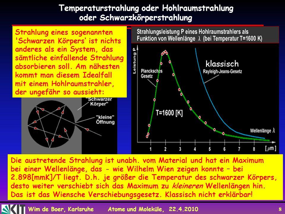 Wim de Boer, Karlsruhe Atome und Moleküle, 22.4.2010 19 Blaufilter Rotfilter Kein Filter Durch Verschiebungsgesetz sind die Helligkeiten der Sterne eine starke Funktion der Farbe.