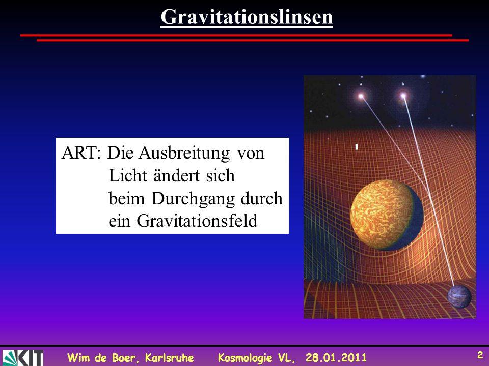 Wim de Boer, KarlsruheKosmologie VL, 28.01.2011 2 Gravitationslinsen ART: Die Ausbreitung von Licht ändert sich beim Durchgang durch ein Gravitationsf
