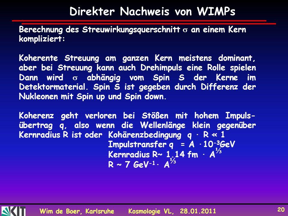 Wim de Boer, KarlsruheKosmologie VL, 28.01.2011 20 Direkter Nachweis von WIMPs Berechnung des Streuwirkungsquerschnitt an einem Kern kompliziert: Kohe
