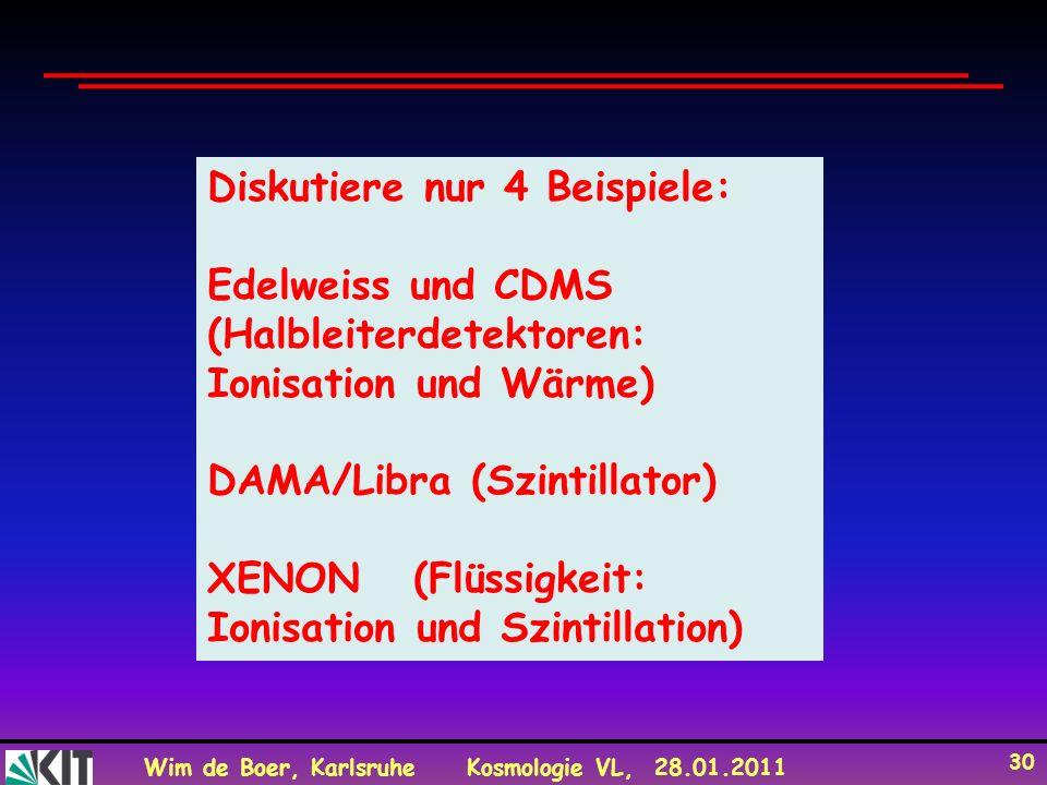 Wim de Boer, KarlsruheKosmologie VL, 28.01.2011 30 Diskutiere nur 4 Beispiele: Edelweiss und CDMS (Halbleiterdetektoren: Ionisation und Wärme) DAMA/Li