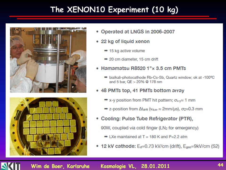 Wim de Boer, KarlsruheKosmologie VL, 28.01.2011 44 The XENON10 Experiment (10 kg)