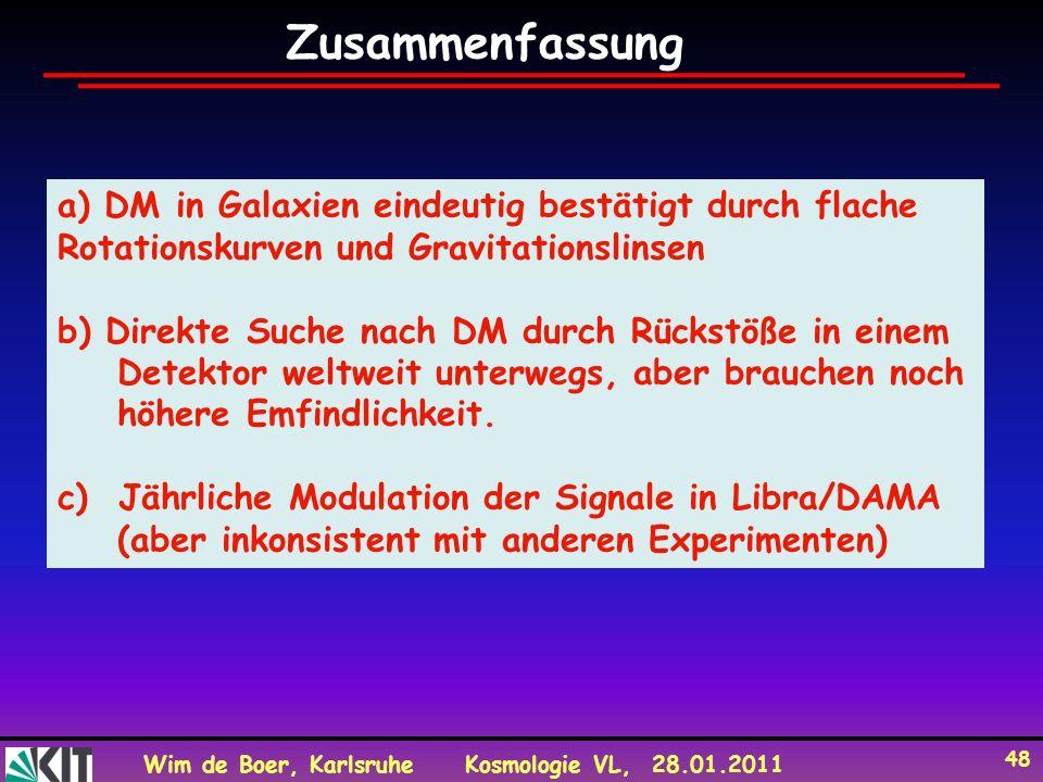 Wim de Boer, KarlsruheKosmologie VL, 28.01.2011 48 a) DM in Galaxien eindeutig bestätigt durch flache Rotationskurven und Gravitationslinsen b) Direkt