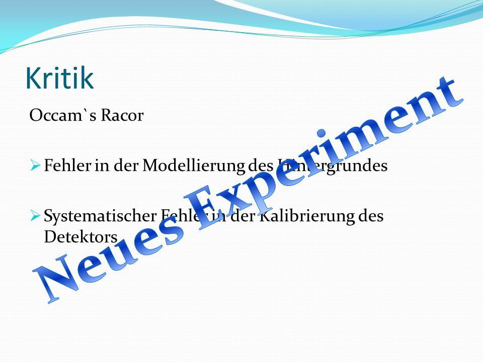 Kritik Occam`s Racor Fehler in der Modellierung des Hintergrundes Systematischer Fehler in der Kalibrierung des Detektors