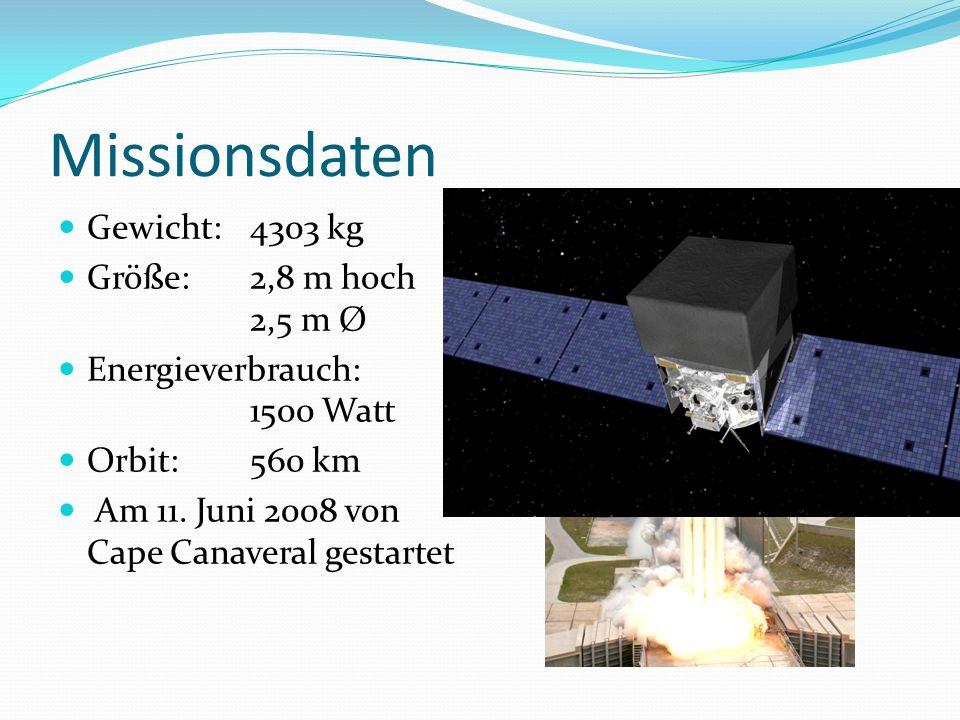 Missionsdaten Gewicht:4303 kg Größe: 2,8 m hoch 2,5 m Ø Energieverbrauch: 1500 Watt Orbit:560 km Am 11. Juni 2008 von Cape Canaveral gestartet