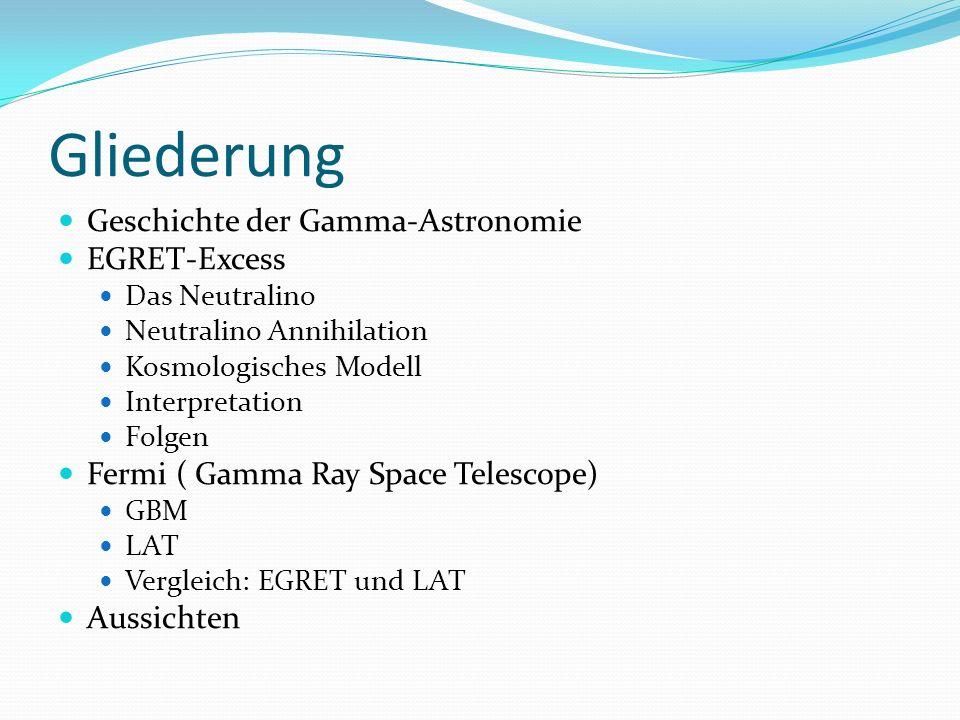 Gliederung Geschichte der Gamma-Astronomie EGRET-Excess Das Neutralino Neutralino Annihilation Kosmologisches Modell Interpretation Folgen Fermi ( Gam