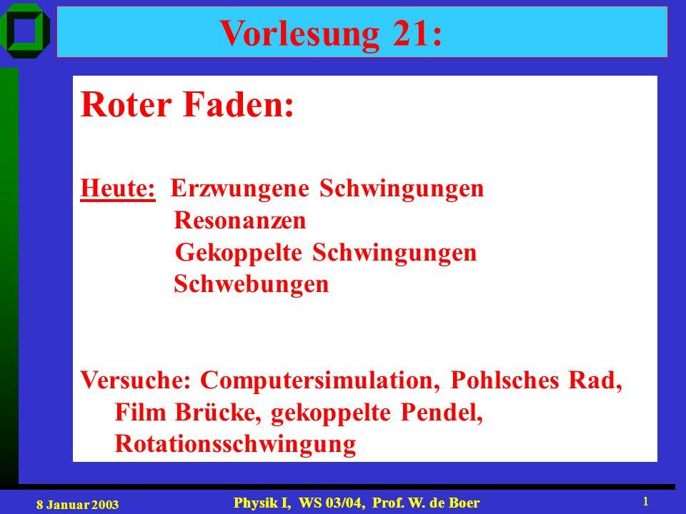 8 Januar 2003 Physik I, WS 03/04, Prof. W. de Boer 1 1 Vorlesung 21: Roter Faden: Heute: Erzwungene Schwingungen Resonanzen Gekoppelte Schwingungen Sc