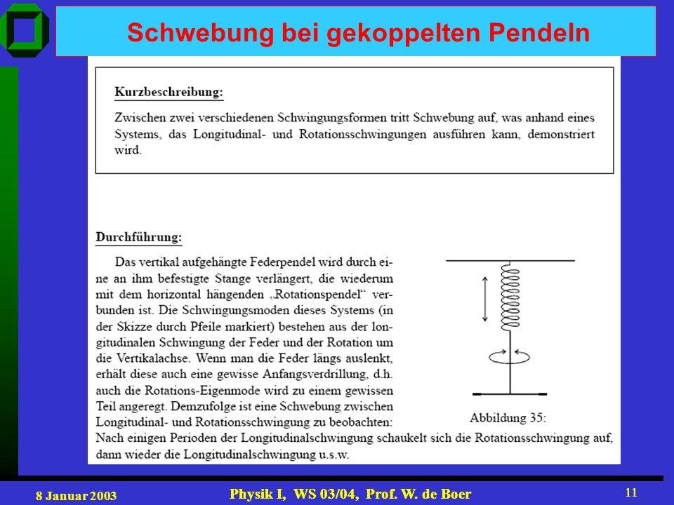 8 Januar 2003 Physik I, WS 03/04, Prof. W. de Boer 11 Physik I, WS 03/04, Prof. W. de Boer 11 Schwebung bei gekoppelten Pendeln