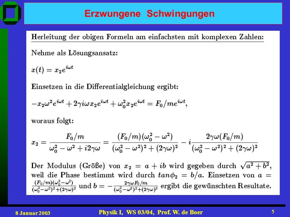 8 Januar 2003 Physik I, WS 03/04, Prof. W. de Boer 5 5 Erzwungene Schwingungen
