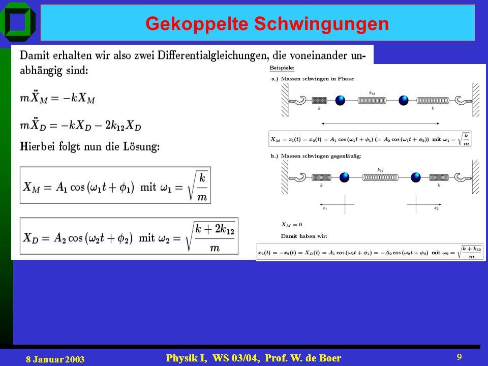 8 Januar 2003 Physik I, WS 03/04, Prof. W. de Boer 9 9 Gekoppelte Schwingungen