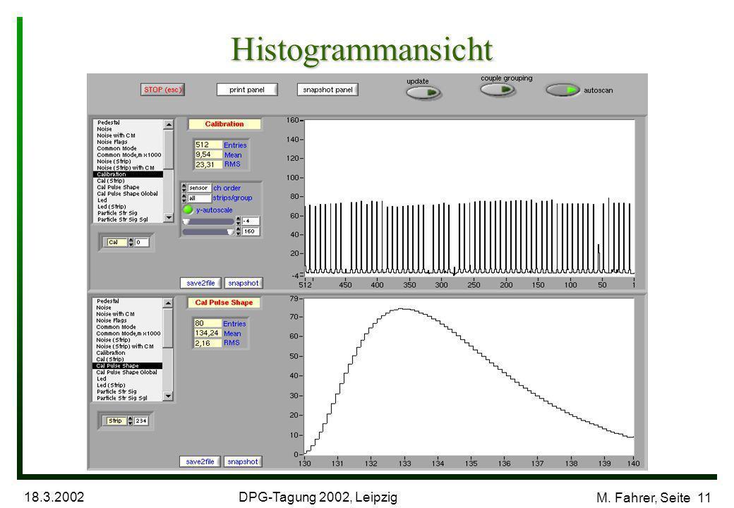 DPG-Tagung 2002, Leipzig 18.3.2002 M. Fahrer, Seite 11 Histogrammansicht