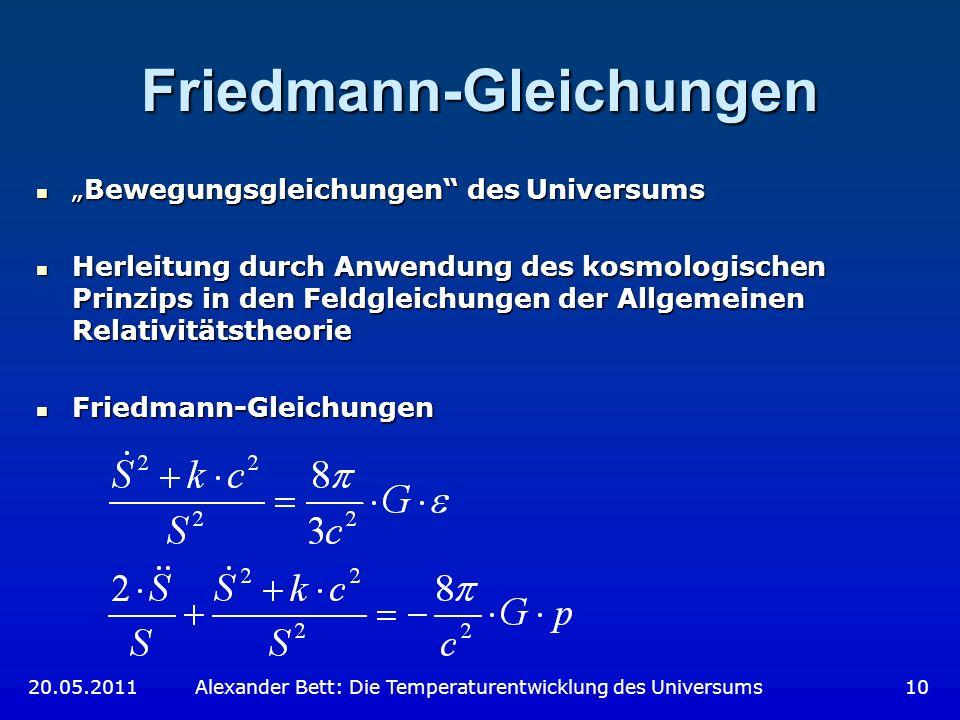 Friedmann-Gleichungen Bewegungsgleichungen des UniversumsBewegungsgleichungen des Universums Herleitung durch Anwendung des kosmologischen Prinzips in