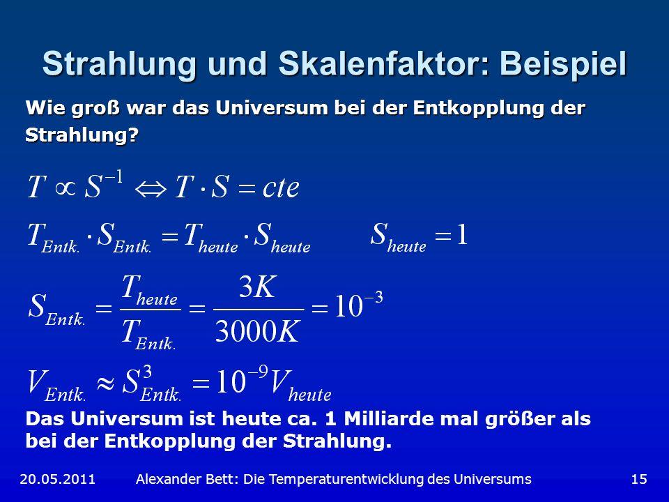 Strahlung und Skalenfaktor: Beispiel Wie groß war das Universum bei der Entkopplung der Strahlung? Das Universum ist heute ca. 1 Milliarde mal größer