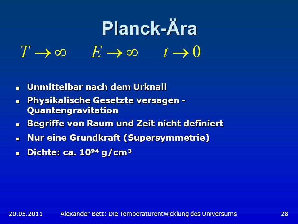 Planck-Ära Unmittelbar nach dem Urknall Unmittelbar nach dem Urknall Physikalische Gesetzte versagen - Quantengravitation Physikalische Gesetzte versa