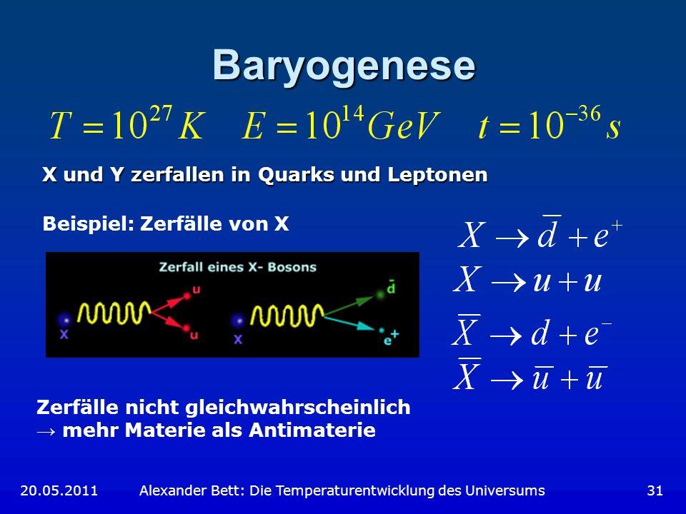 Baryogenese X und Y zerfallen in Quarks und Leptonen Beispiel: Zerfälle von X Zerfälle nicht gleichwahrscheinlich mehr Materie als Antimaterie 20.05.2