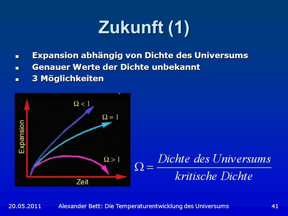 Zukunft (1) Expansion abhängig von Dichte des Universums Expansion abhängig von Dichte des Universums Genauer Werte der Dichte unbekannt Genauer Werte