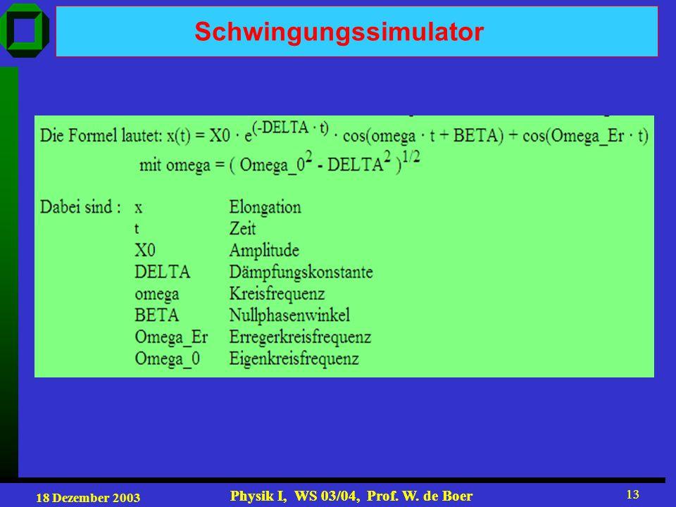 18 Dezember 2003 Physik I, WS 03/04, Prof. W. de Boer 13 Physik I, WS 03/04, Prof. W. de Boer 13 Schwingungssimulator