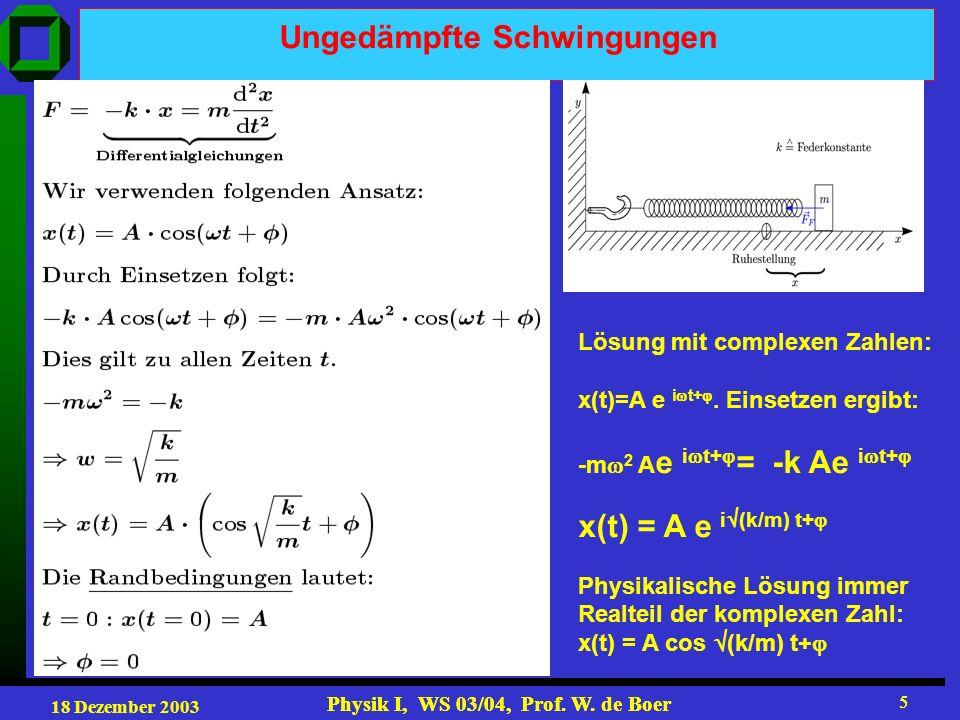 18 Dezember 2003 Physik I, WS 03/04, Prof. W.